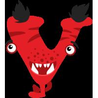Autocollant Alphabet Enfant Monstre V