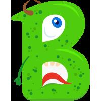 Autocollant Alphabet Monstre Enfant Lettre B