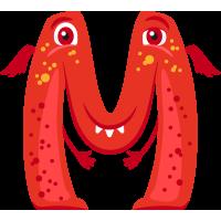 Autocollant Alphabet Monstre Enfant Lettre M