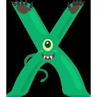 Autocollant Alphabet Monstre Enfant Lettre X