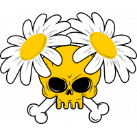 Autocollant Tête De Mort Marguerite Jaune