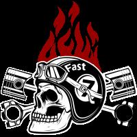 Autocollant Tête De Mort Racing Flamme