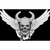 Autocollant Tête De Mort Devil Aile Diable
