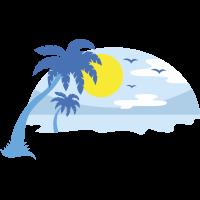 Autocollant Vacances Plage Bleu