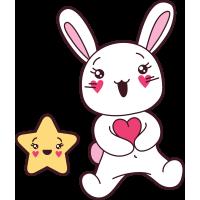 Autocollant Lapin Kawai Manga étoile