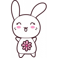 Autocollant Lapin Kawai Manga Fleurs