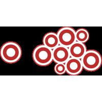 Autocollant Cercle Moderne Rouge