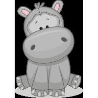 Autocollant Mignon Hipopotame