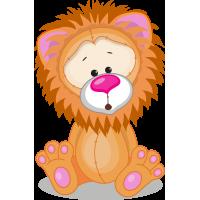 Autocollant Mignon Lion