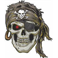 Autocollant Tête De Mort Pirate