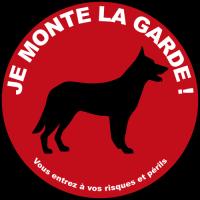 Sticker Attention au chien je monte la garde 2