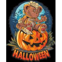Stickers Halloween Ourson Citrouille