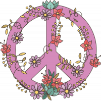 Sticker Peace and Love Fleurs Rose