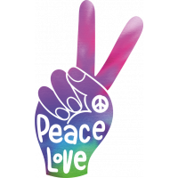 Sticker Peace and Love Doigt Tie Dye