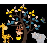 Sticker Jungle animaux arbre enfant