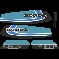 Kit Autocollants Honda 125 Xls 1979 Bleu Full