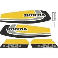 Kit Autocollants Honda 125 Xls 1979 Jaune Full