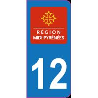 Sticker immatriculation 12 - Aveyron