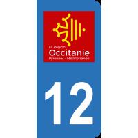 Sticker Immatriculation 12 - Aveyron - 2