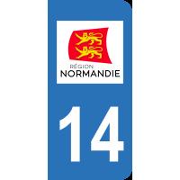 Sticker Immatriculation 14 - Calvados - 2