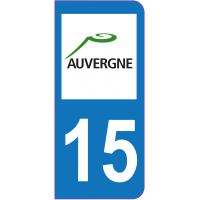 Sticker immatriculation 15 - Cantal