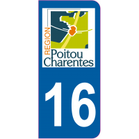 Sticker immatriculation 16 - Charente