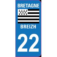 Sticker immatriculation 22 - Côtes-d'Armor