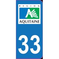 Sticker immatriculation 33 - Gironde