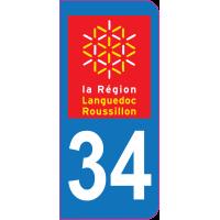 Sticker immatriculation 34 - Hérault