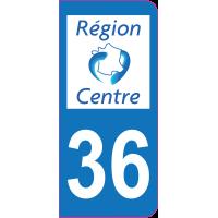 Sticker immatriculation 36 - Indre