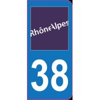 Sticker immatriculation 38 - Isère