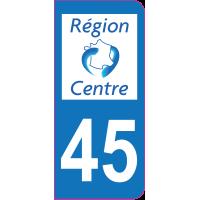 Sticker immatriculation 45 - Loiret