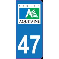 Sticker immatriculation 47 - Lot-et-Garonne