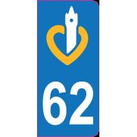 Sticker immatriculation 62 - Pas-de-Calais