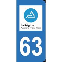 Sticker Immatriculation 63 - Puy-de-dôme - 2