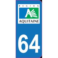 Sticker immatriculation 64 - Pyrénées-Atlantiques