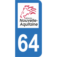 Sticker Immatriculation 64 - Pyrénées-atlantiques - 2
