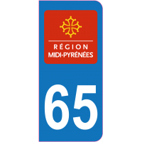Sticker immatriculation 65 - Hautes-Pyrénées