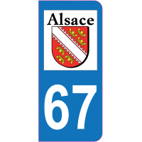 Sticker immatriculation 67 - Bas-Rhin