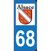 Sticker immatriculation 68 - Haut-Rhin