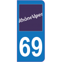 Sticker immatriculation 69 - Rhône