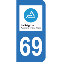 Sticker Immatriculation 69 - Rhône - 2