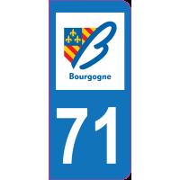 Sticker immatriculation 71 - Saône-et-Loire