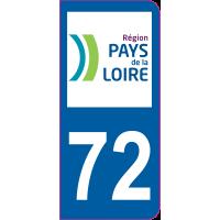 Sticker immatriculation 72 - Sarthe