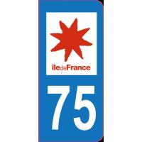 Sticker immatriculation 75 - Paris