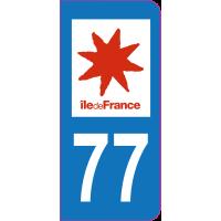 Sticker immatriculation 77 - Seine-et-Marne