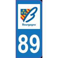 Sticker immatriculation 89 - Yonne