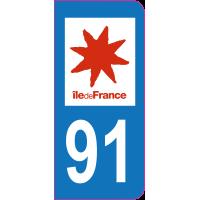 Sticker immatriculation 91 - Essonne