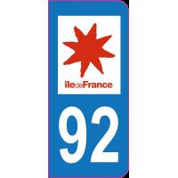 Sticker immatriculation 92 - Hauts-de-Seine