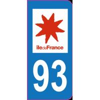 Sticker immatriculation 93 - Seine-Saint-Denis